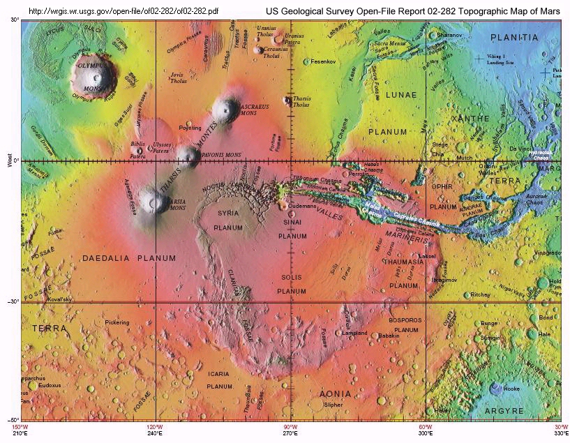 Part of the 2002 Topographic Map of Mars showing the impact coomplex